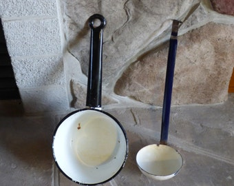 Old enamel pot and ladle