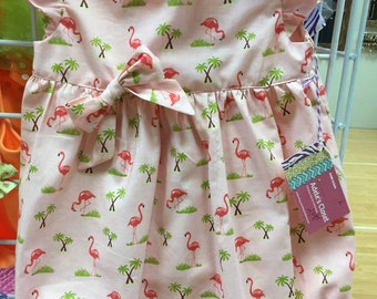 Boutique Style, size 18 mos., Pink Flamingo with Palm Trees Romper/Bubblesuit