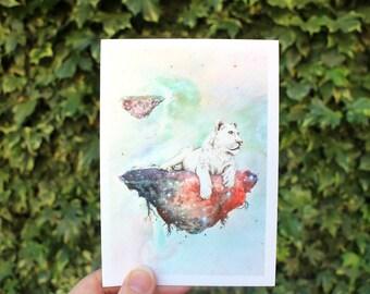 Galaxy Lioness | Greeting card
