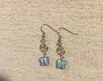 Light Blue Butterfly with Silver Swirl Earrings