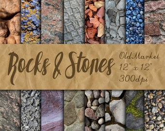 Rocks and Stones Digital Paper - Rock and Stone Textures - 16 Designs - 12in x 12in - Commercial Use - INSTANT DOWNLOAD