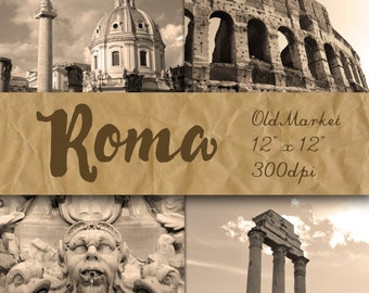 Roma Digital Papers - Photographs of Rome - Rome Italy Digital Backgrounds - 12 Designs - 12in x 12in - Commercial Use - INSTANT DOWNLOAD
