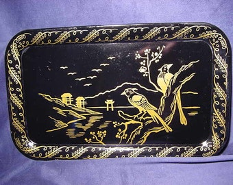 Vintage Metal Serving Chinoiserie Black and Gold Tray Oriental Scene Birds