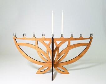 Lotus Flower Menorah, Hanukkah, Chanukkah, Wood Menorah, Judaica, Hanukkah Decoration, Jewish Holiday, Jewish Gift, Travel Menorah