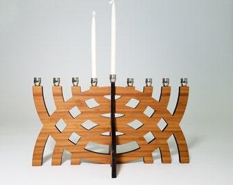 Intersecting Arcs Menorah, Hanukkah, Chanukah, Wood Menorah, Judaica, Hanukkah Decoration, Jewish Holiday, Jewish Gift, Travel Menorah