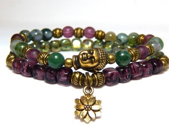 Yoga Bracelet, Buddha Bracelet, Buddha Charm, Lotus Flower Charm, Beaded Yoga Jewelry, Meditation Bracelet, Mala Bracelet, Buddhist