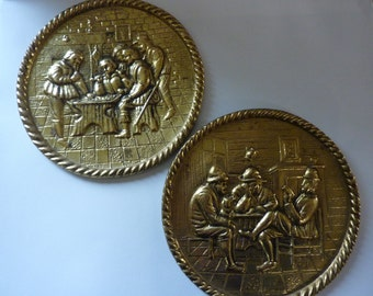 Vintage Repousse Pair of Brass Wall Hangings, Tavern Scenes by Peerage made in England, Wall Art