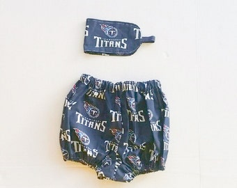Baby sports team bloomers. Titans bloomers with headband. Sports fan. Sports clothing