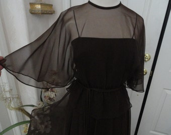Vintage Miss Elliette Gown . 1970s . Chocolate Chiffon Gown  . Size 6 Size 8 .  Small Formal Gown . Capelet . Prom . Cruise . Gala . Wedding