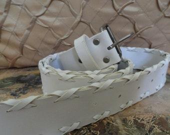 Fancy White Belt .  NobleDesigns4U . 1990s . Vintage Belt . Faux Leather . Costume . sz XL 1X Plus Belt . 1 .