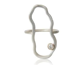 Moissanite Statement Ring in Sterling Silver,  Nebula Ring, Silver Moissanite Ring, Gift for Her,  Eco Friendly Handmade jewelry, gemstone