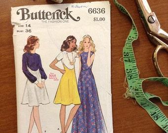Vintage Sewing Pattern Butterick 6636 'uncut'