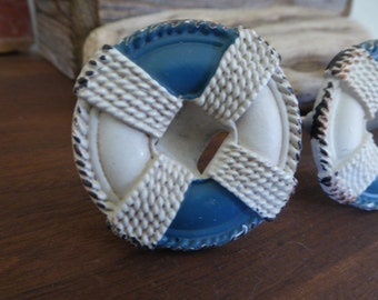 Metal LIFE PRESERVER Knob   Blue U0026 White Nautical Knobs Boat Beach Ocean  Decorative Dresser Drawer
