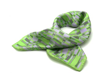 Silk Scarf 'Field Trip' Design with Rolled Edges