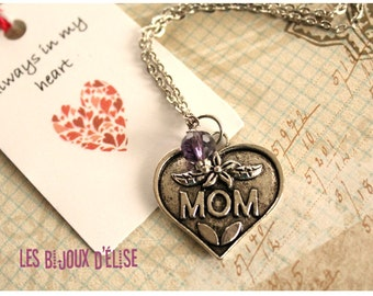 Sale - Friendship Necklace Mom Necklace Antique Silver Heart Charm Necklace with Amethyst Crystal Mother Mommy Necklace - Gift Under 10