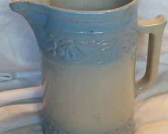 On Sale Early 1900's Large Blue and Gray Salt Glazed Primitive Water  Stoneware Pottery Pitcher Salt Glazed