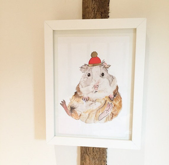 Geoffrey Guinea Pig with Red Hat Cute A5 Gesso Fine Art Print