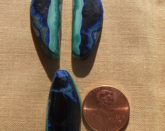 Beautiful Banded Azurite/Malachite Cabochons from Open Pit of Morenci, Arizona