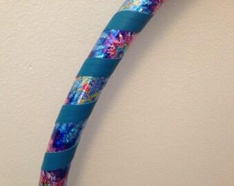Teal, Tie Dye Sparkly Deco Taped Kids Hula Hoop