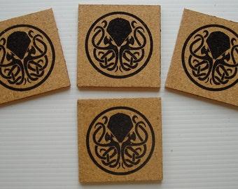 Cthuhlu cork coaster set of 4
