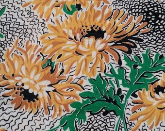 "Fabulous Vintage 1940s Floral ~ Black-eyed Susan Sunflower Chrysanthemum ~ Golden Yellow Black Green ~ 36"" wide 6 yards available"