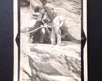 Vintage Photo Snapshot Vernacular Photo Men Hiking Rock Climbing