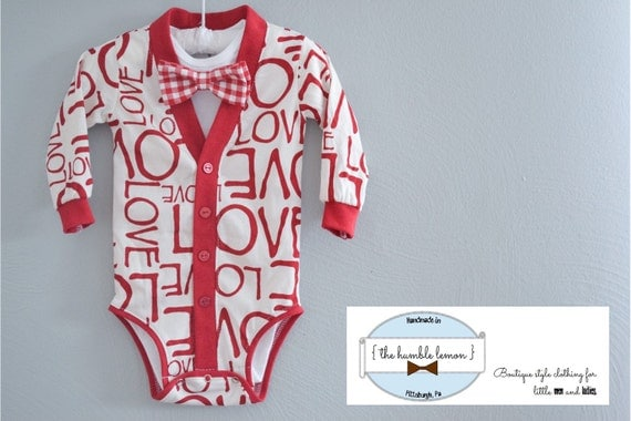 Valentine's Day Preppy Baby Cardigan One Piece: Red Love Print on White Jersey Knit with Interchangeable Bow tie Shirt and Bow Tie