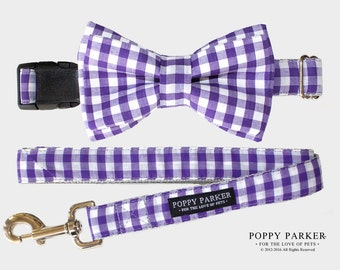 Purple GIngham Layered Dog Bow Tie - Optional Collar and Leash