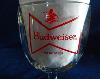Vintage Budweiser Bow Tie Logo Beer Glass Goblet