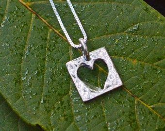 Live With An Open Heart Sterling Necklace - Silver Heart Necklace