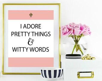Kate Spade Inspire WallArt Printable || Witty Word Wallart Printable