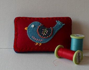 Handmade Mini Needle Cushion Red Felted Wool Blue Bird Pincushion
