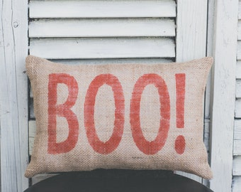 BOO! Decorative Pillow Halloween Pillow Autumn Pillow Fall Pillow Pumpkin burlap pillow fabric pillow 14x9 pillow