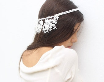 White Bridal Headpiece, Bridal Hair Accessories, Wedding Hair Piece, Bridal Headband, Fringe Headpiece, Bridal Hair Chain, Bridal Hair Piece