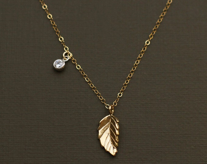 Asymmetrical Gold Leaf and Crystal Drop Necklace