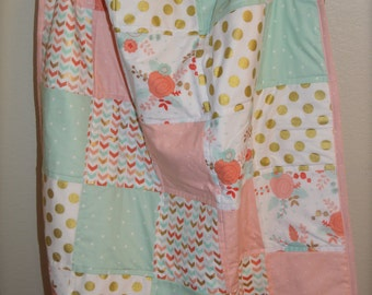 Girls Crib Quilt / Coral, Mint and Gold Baby Quilt