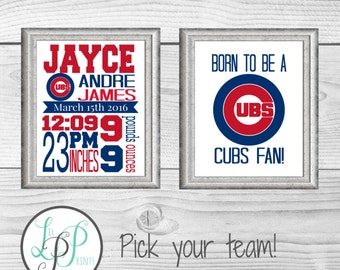 Baseball Nursery, Baseball Baby Gift, New Baby Boy Gift, Boy's Room Decor, Sports Nursery Wall Art, Baseball Wall Decor, Pick Your Team!