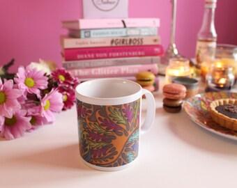SALE: Colourful Ceramic Patterned Mug, White Handles, Bright Coloured Mug, Handpainted Design, Floral Pattern White Mug, Housewarming Gifts,