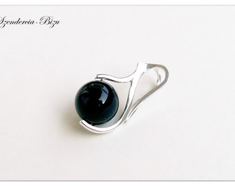 Silver pendant with Swarovski Elements Pearl 10mm Crystal Black