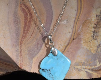 Turquoise Sonoran  PENDANT Nugget Necklace with sterling chain