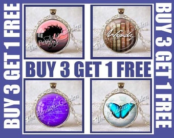Buy 3 GET 1 FREE Your Choice of Any 3 Pendants Get 1 Pendant Free You Must Use This Listing (Sterling Silver and Custom Not Included)