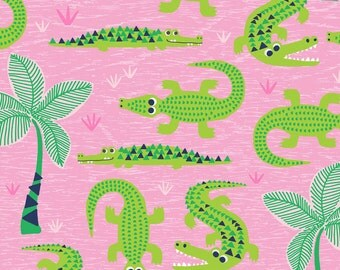 NEW! Everglades Pink, See You later, Fabric Yard by Maude Asbury for Blend Fabrics, Tropical, Alligator, 101.126.01.1