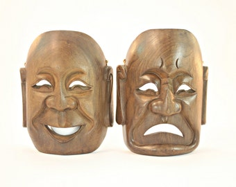Carved Wood Comedy Tragedy Masks, Mid Century Sorrow and Joy Masks, Hardwood Carved Comedy Tragedy Masks, MCM Wooden Comedy Tragedy Masks