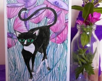 Hand Illustrated Cat Greetings Card 'Spike', Cat Card, illustrated Cat card, Cat and flowers card, blank card, black cat card, walking cat