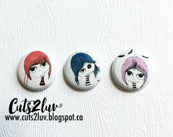 "3 badges 1 ""zombie girls"