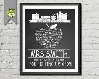 Retirement Teacher Gift, Thank You, word art apple, Gift, Personalised, Typography apple, DIY Printable, Word art, gift, school, bespoke