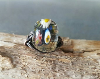 Fantastic Large Lampwork Glass Ring/Evil Eyes/Copper/Wrapped/Handmade/Unique/Organic Jewelry