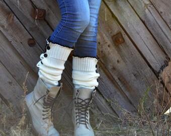 Boot socks for women, boot cuffs, leg warmers, fall legwarmers, lace boot socks, lace boot cuffs gray Button - Down Leg Warmer for Women