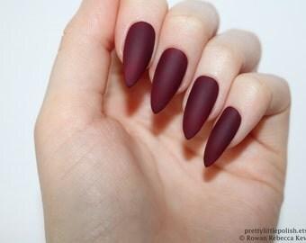 Matte burgundy stiletto nails, Halloween nails, Fake nail, Stiletto nail, Kylie jenner, Black stiletto nail, Press on nail, Acrylic nail