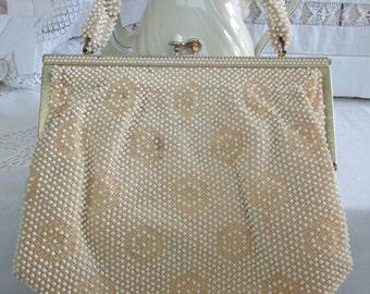 Vintage Cream Beaded Purse Corde Bead Handbag Lumured Shabby Chic Beaded Rope Handle Gold Trim Clasp 1950s Ivory